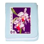 Vintage China Cattleya Orchid Stamp baby blanket
