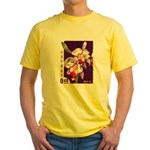 Vintage China Cattleya Orchid Stamp Yellow T-Shirt
