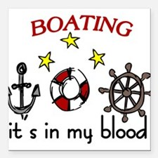 """Boating Square Car Magnet 3"""" x 3"""""""