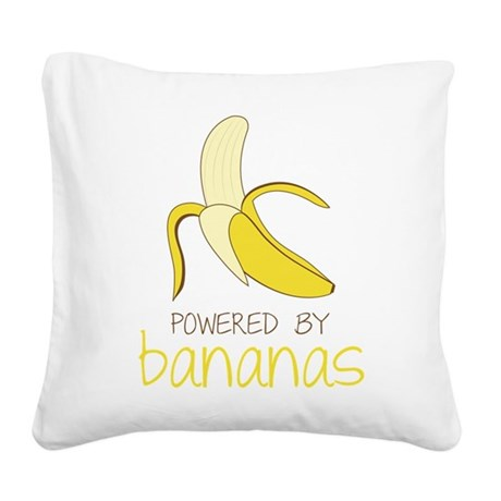 Powered By Bananas Square Canvas Pillow