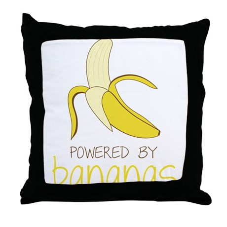 Powered By Bananas Throw Pillow
