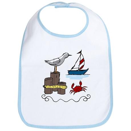 Nautical Scene Bib