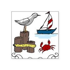 """Nautical Scene Square Sticker 3"""" x 3"""""""
