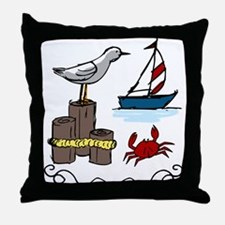 Nautical Scene Throw Pillow