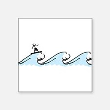 """Surfing Square Sticker 3"""" x 3"""""""