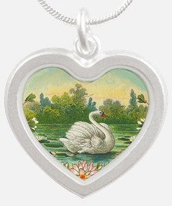 Swimming Swan Silver Heart Necklace