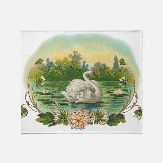 Swimming Swan Throw Blanket