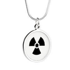 Radiation Warning Symbol Silver Round Necklace