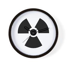 Radiation Warning Symbol Wall Clock