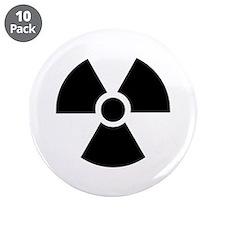 "Radiation Warning Symbol 3.5"" Button (10 pack)"