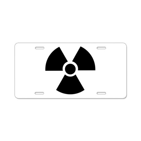 Radiation Warning Symbol Aluminum License Plate