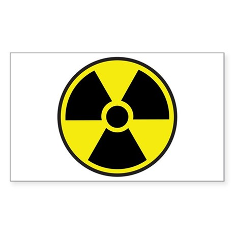 Radiation Warning Symbol Sticker (Rectangle)