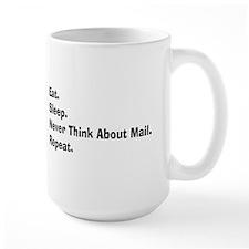 Retired USPS eat sleep never think mail.PNG Mug