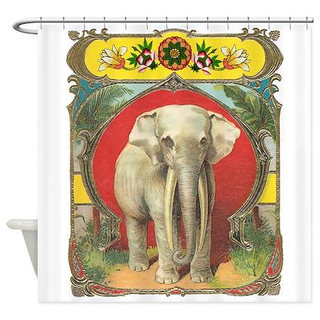 White Elephant Shower Curtain