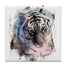 Pastel Painted Tiger Tile Coaster