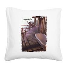 Esalen tub on room deck Square Canvas Pillow