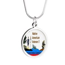 Native_American_Veterans Silver Round Necklace