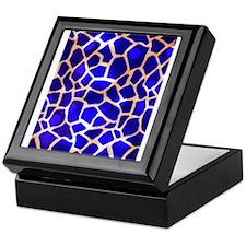 Electric Blue Giraffe Pattern Keepsake Box