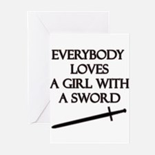 Girl With a Sword Greeting Cards (Pk of 20)