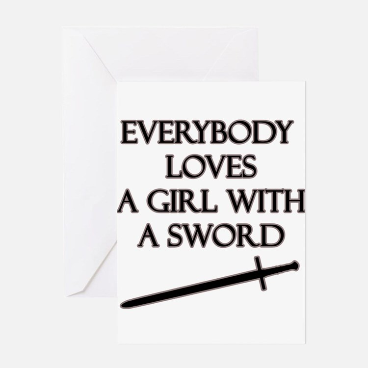 Girl With a Sword Greeting Card