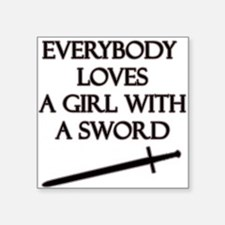 """Girl With a Sword Square Sticker 3"""" x 3"""""""