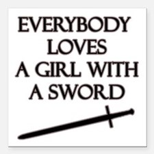 "Girl With a Sword Square Car Magnet 3"" x 3"""