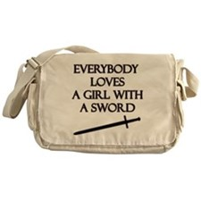 Girl With a Sword Messenger Bag