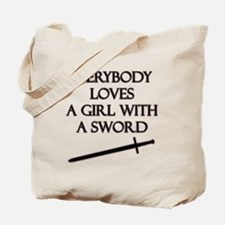Girl With a Sword Tote Bag