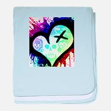 Rainbow Heart Paint Splatter baby blanket