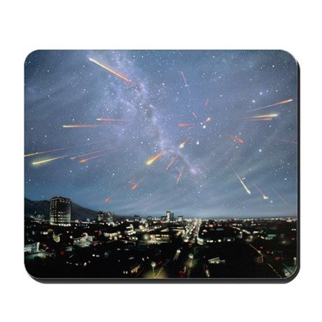 Artwork of meteor shower over a city - Mousepad