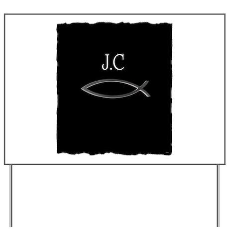 jesus christ fish symbol silver, white letters Yar
