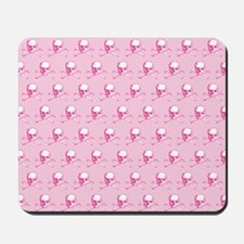 Pink Skull And Crossbones Pattern Mousepad