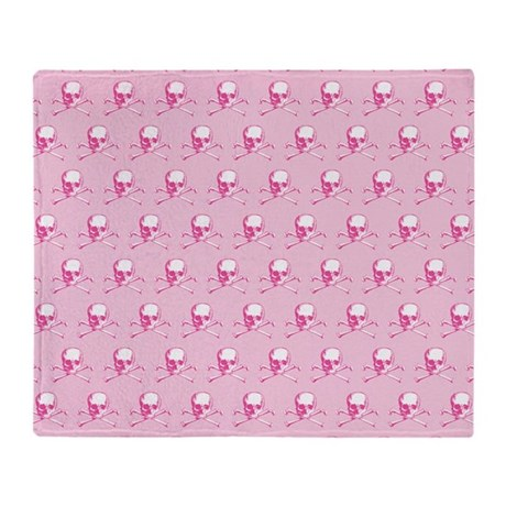 Pink Skull And Crossbones Pattern Throw Blanket By Evilinpink
