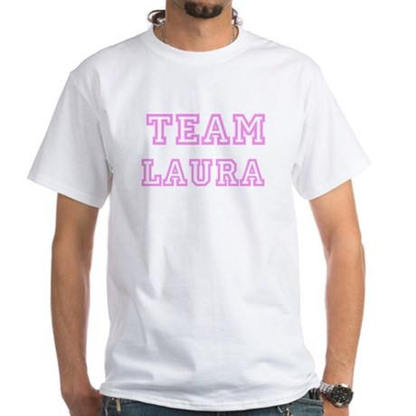 Pink team Laura White T-Shirt