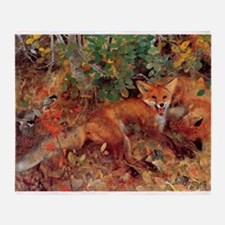 Painting of a Fox Throw Blanket