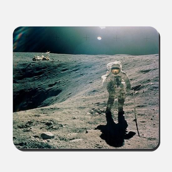Astronaut Duke next to Plum Crater, Apollo 16 - Mo