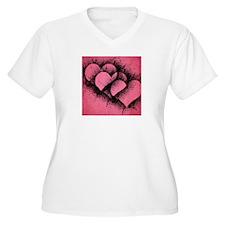 Triple Heart Design T-Shirt