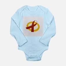 AIDS ribbon and condom - Long Sleeve Infant Bodysu