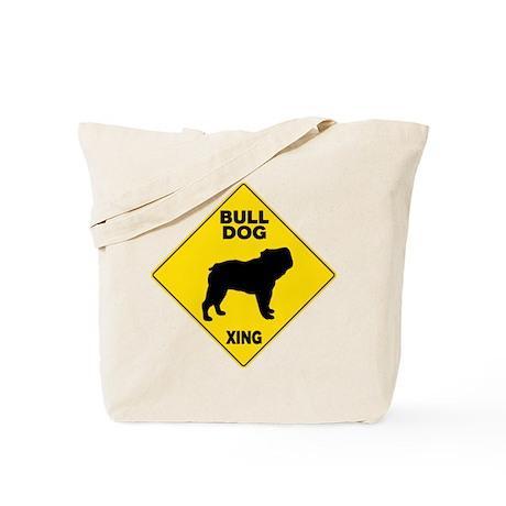 Bulldog Crossing Sign Tote Bag