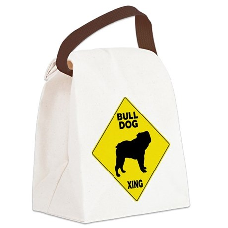 Bulldog Crossing Sign Canvas Lunch Bag