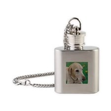 Yellow Lab in Meadow Flask Necklace