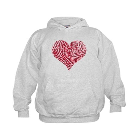 Red heart with fingerprint pattern Kids Hoodie