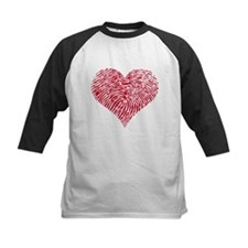 Red heart with fingerprint pattern Tee