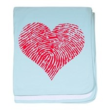 Red heart with fingerprint pattern baby blanket