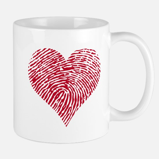 Red heart with fingerprint pattern Mug