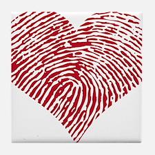 Red heart with fingerprint pattern Tile Coaster