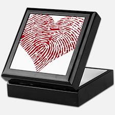 Red heart with fingerprint pattern Keepsake Box