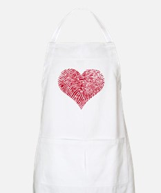 Red heart with fingerprint pattern Apron