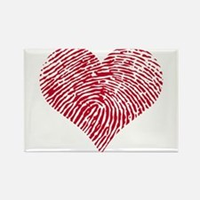 Red heart with fingerprint pattern Rectangle Magne
