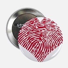 "Red heart with fingerprint pattern 2.25"" Button"